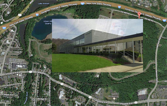 Map of Novartis plant location. Novartis building photo / Peter Carr / The Journal News