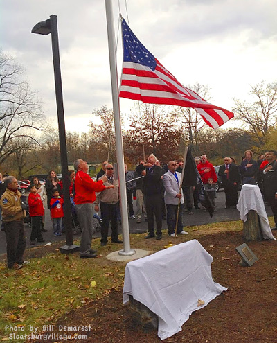 veterans day flag raising ceremony