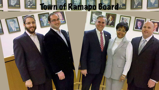 (L to R): Councilman Yitzchok Ullman; Councilman Daniel Friedman; Town Supervisor Christopher P. St. Lawrence; Councilwoman Brendel Logan; Councilman Patrick Withers.