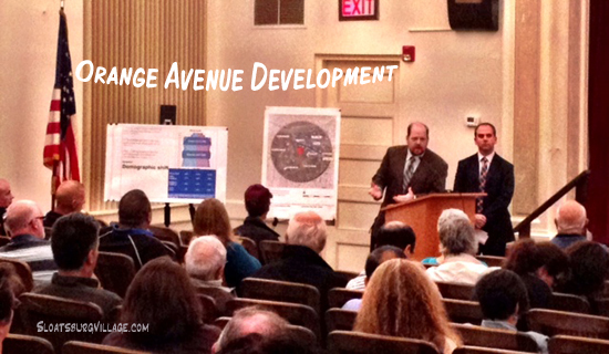 Joshua Goldstein (on the right at the podium) at one of the many Orange Avenue Associates presentations on the proprosed apartment complex in downtown Suffern.