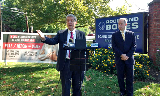 Rockland County District Attorney Thomas P. Zugibe was joined by County Executive Ed Day to announce details of a new community action plan to battle the region's burgeoning heroin and prescription drug epidemic.