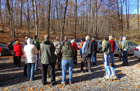 Hikers gather at the Doris Duke Trail dedication in Sterling Forest Park / Photo by Geoff Welch