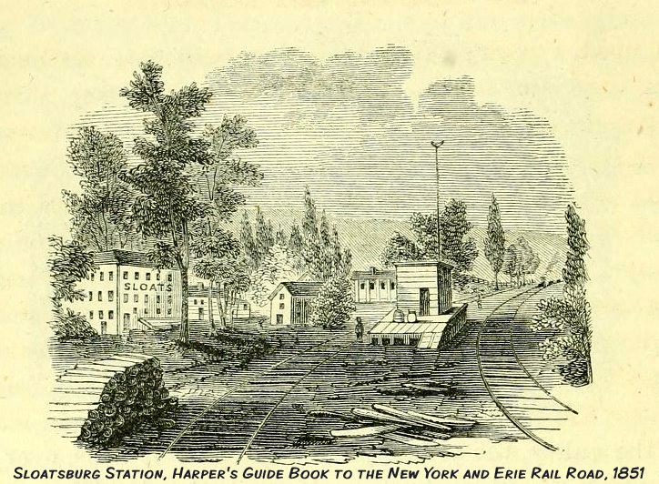 Harper's Guide Book to the NY & Erie Rail Roads in 1851 shows what Sloatsburg looked like with businesses along the Ramapo River. In 1868, a two-story brick facade station with tin roof was constructed. The station was torn down in the 1950s.
