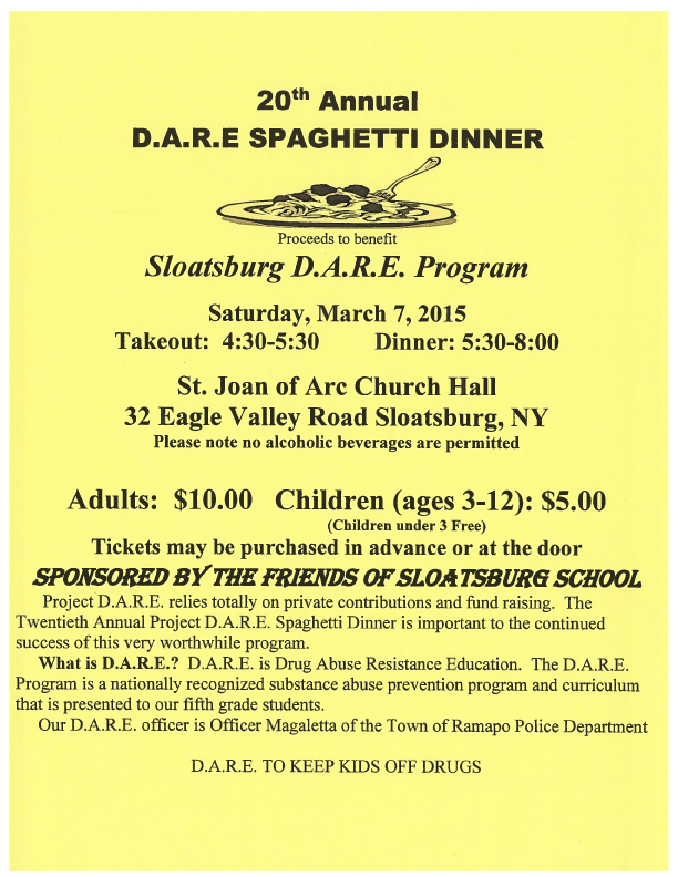 Sloatsburg DARE Dinner @ St. Joan of Arc Church  | Sloatsburg | New York | United States