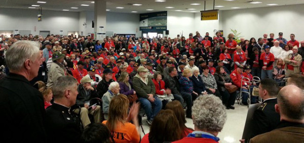 Hudson Valley Honor Flight participants gathered at Stewart International Airport, preparing to go on Mission #7 to Washington, D.C.  as part of the Honor Flight program. / Photo courtesy of Mike & Daphne Downes