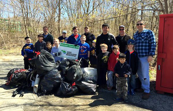 Cub Scout Pack 46 joined in the great Rockland Cleanup by picking up around the Sloatsburg Train Station and Municipal Building. / Photo courtesy of Cub Scouts Pack 46