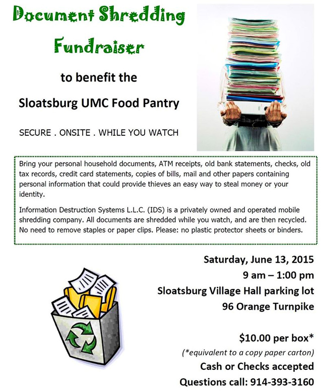 UMC Food Pantry Fundraiser @ Sloatsburg Village Hall | Sloatsburg | New York | United States