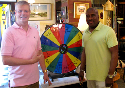 Stephen Hoefer (left) and Darrell Frasier, owners of BackHome Antiques in Tuxedo -- a popular place to look for offbeat antiques and collectibles. Photo courtesy of BackHome Antiques Facebook.