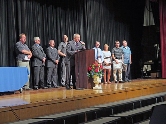 Village of Sloatsburg officials, led by Mayor Carl Wright, announce local scholarships at recent Evening of Excellence at Suffern High School. / Photo courtesy of Ramapo Central High School