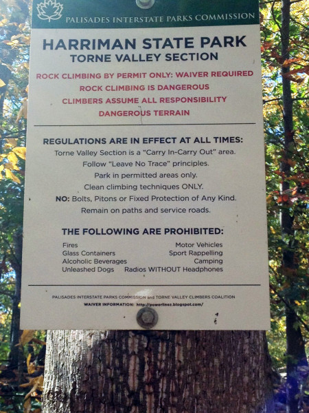 The rules of the rocks in Torne Valley. Via MyHarriman.