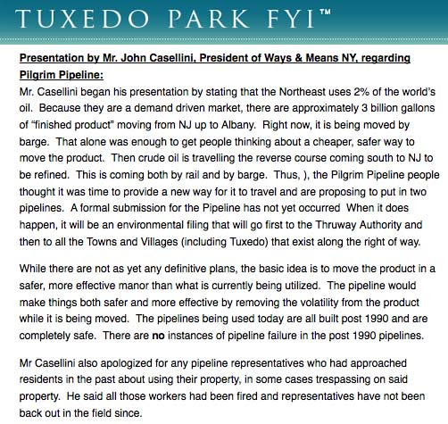 Remarks from Pilgrim Pipeline representative John Casellini from May Tuxedo Town Board meeting.
