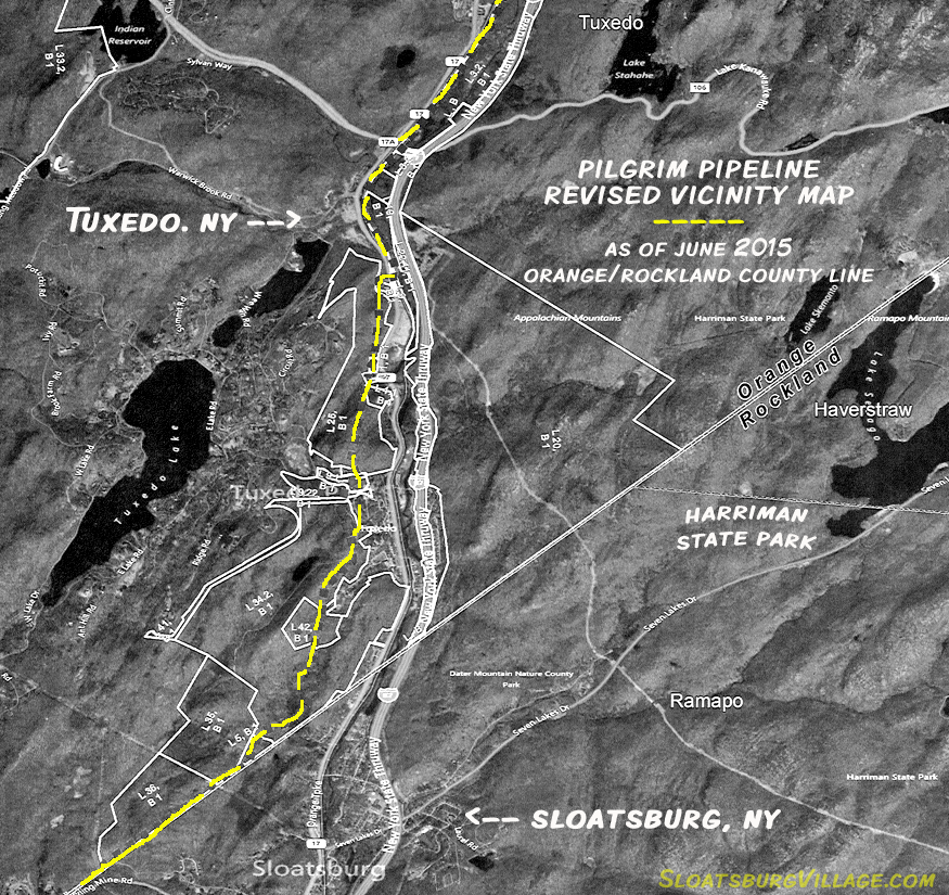 Revised vicinity map for the route of the proposed Pilgrim Pipeline through Tuxedo and Sloatsburg.