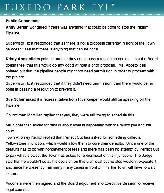 Public comments via TPFY.com from a July 27 Tuxedo Town Board meeting related to the proposed  Pilgrim Pipeline.