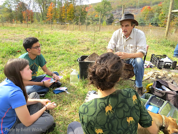Chuck Stead and Ramapo College students at the Torne Valley Medicine Garden braiding newly harvested ceremonial Sweet Grass.