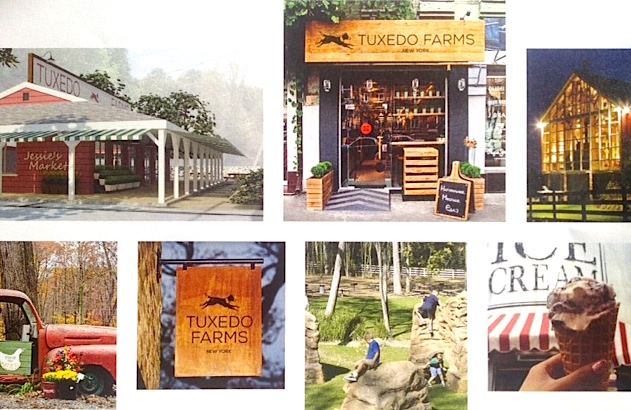 Collage of Tuxedo Farms proposed Jessie's Market and surrounding area leading to the adjacent retail complex. Via Related/Welco Realty marketing materials.
