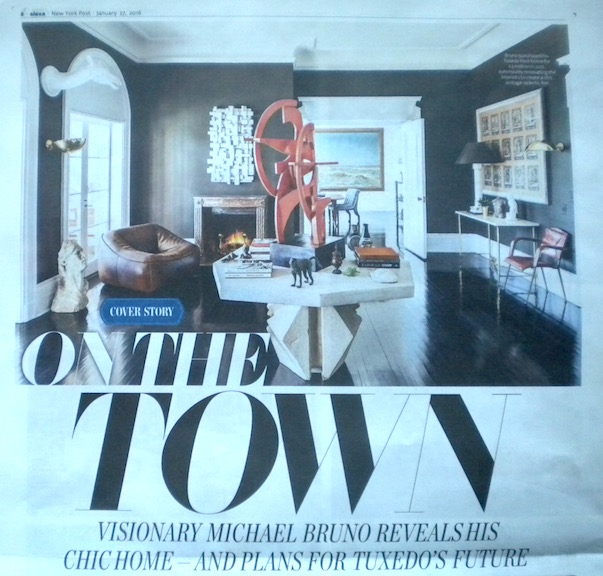 The New York Post story on Michael Bruno's plans for Tuxedo's future by Heidi Mitchell with photos by Brett Beyer. On the Town cover story layout via the New York Post.