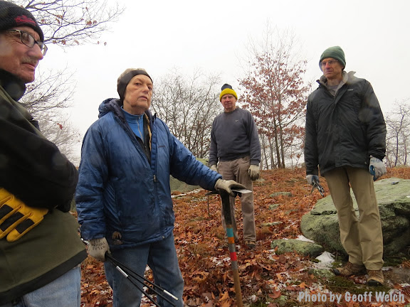 NYNJ Trail Conference volunteer crew worked all day recently to build stone steps at Sloatsburg's Liberty Rock trail head. Members included John Mack, Stephen Zubarik, Richard Lynch, Joan James, Gay Mayer, and Noel Schulz.