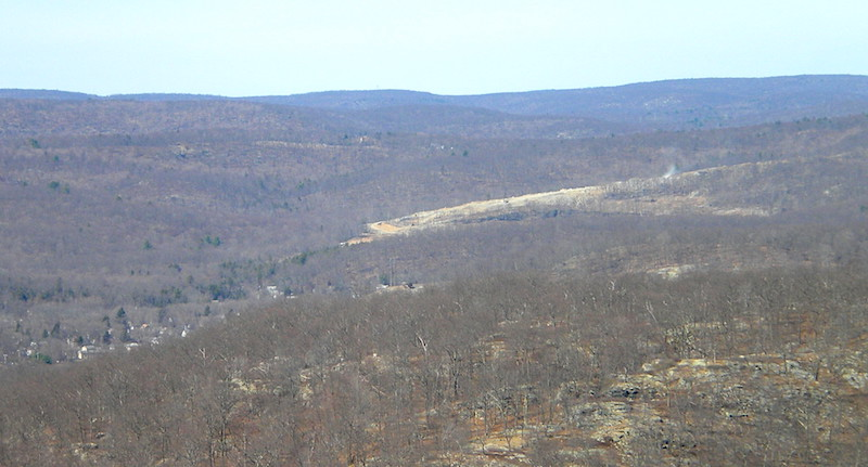 Tuxedo Farms land clearing seen from atop Torne Mountain. The Village of Sloatsburg Pine Grove Lakes neighborhood can be seen in the foreground.