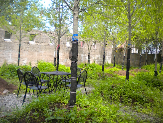 A peek at the planned garden area at the Tuxedo Hudson Company's French Resistance Cafe property in Sloatsburg's village center.
