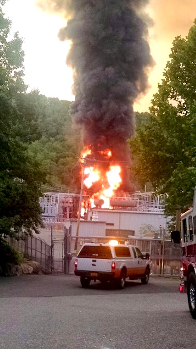 Friday evening, June 24, fire that broke out at an Orange & Rockland power substation in Hillburn, NY.