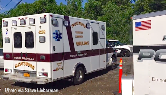 The Sloatsburg Volunteer Ambulance Corps arrived Tuesday morning to the scene on Waldron Terrace in Sloatsburg, where a dead body was found by a burned out car in the early morning hours.