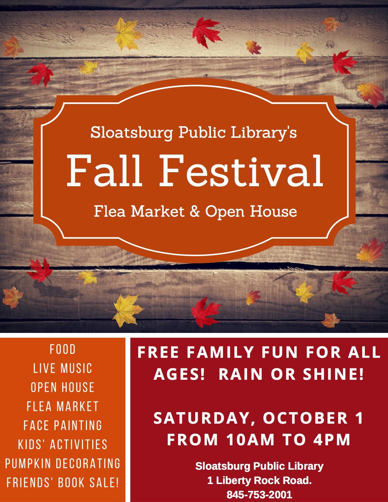 Library Fall Festival @ Sloatsburg Public Library | Sloatsburg | New York | United States