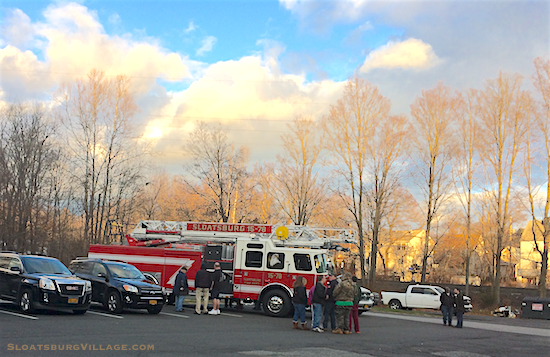 Member of the Sloatsburg Volunteer Fire Department greet Sloatsburg's new 78' Aerial Ladder Truck, which was delivered to the Village at the beginning of December 2016.