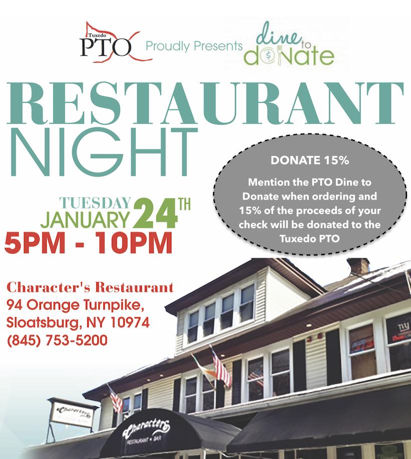 Characters Fundraiser Dine & Donate @ 94 Orange Turnpike, Sloatsburg, NY