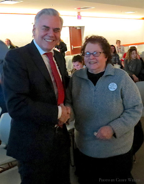 Town of Ramapo Supervisor Christopher St. Lawrence with Tuxedo resident and educator Sue Scher, who is part of a regional Tuxedo coalition that opposes the Pilgrim Pipelines due to its threat to the Ramapo River watershed and surrounding environment.