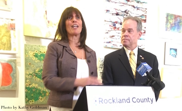 Lucy Redzeposki, Rockland County director of economic growth & tourism, left, with County Executive Ed Day, announced local grant funding to county non-profits organization on Thursday, February 16, at the Edward Hopper House in Nyack.