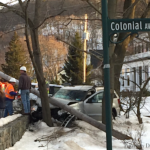 Car rams utility pole Monday on Route 17 in Sloatsburg